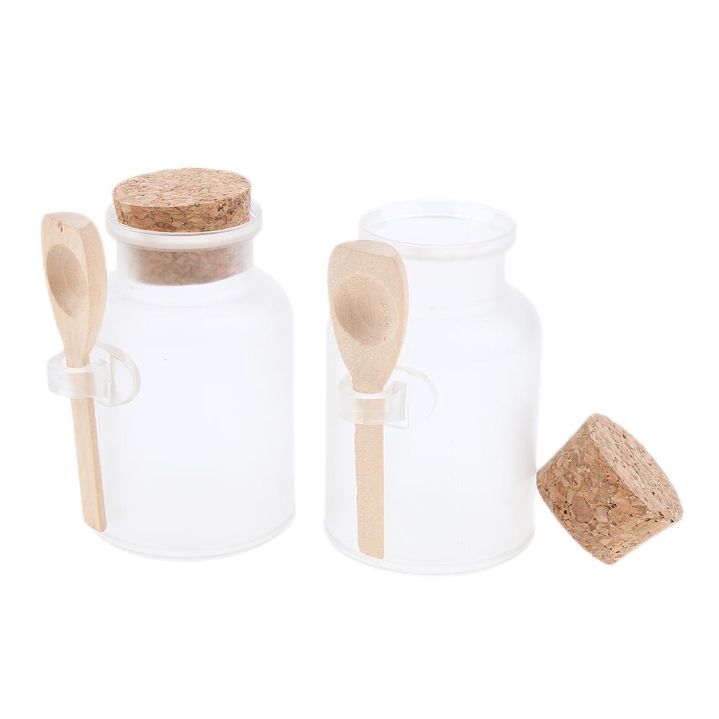 99688daa44aa Bath salt bottles 2pcs ABS empty clear cork jar wood spoon 100g