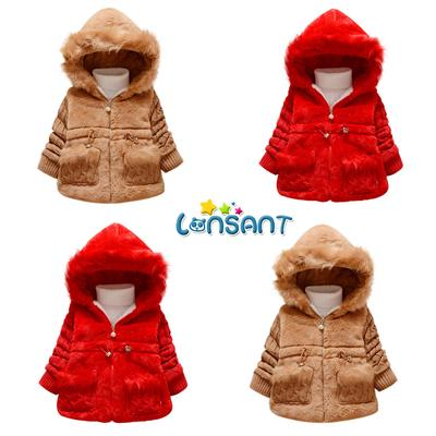 Toddler Kid Baby Girls Faux Fur Thick Jacket Snowsuit Warm Cardigan Coat Outwear