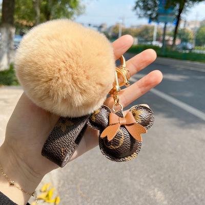 Leather Bear Pendant Car Key Chain Creative Ins Women Keyring Women Bag Hanging Keychain Jewelry Accessories