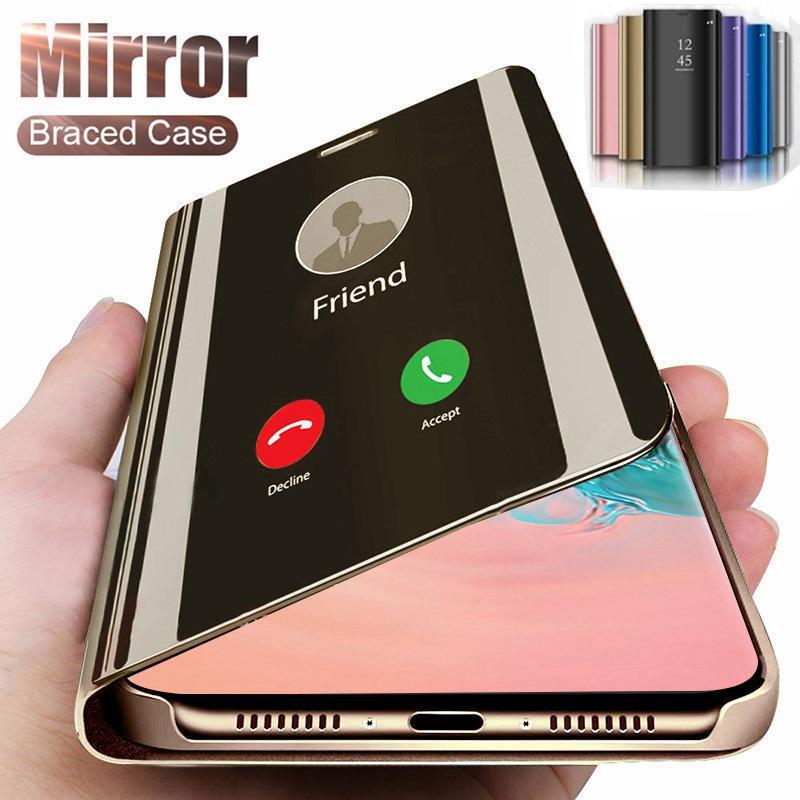 MingXuan Зеркало Smart Flip кожаный телефон Чехол для Huawei iphone Samsung S10 S20 Plus