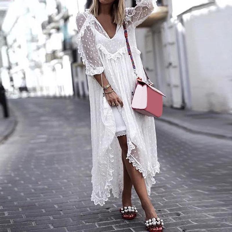 S-5XL женщин V шеи Длинные рукава Увидеть через кружева Верхняя одежда случайные Loose Maxi платье Обложка фото