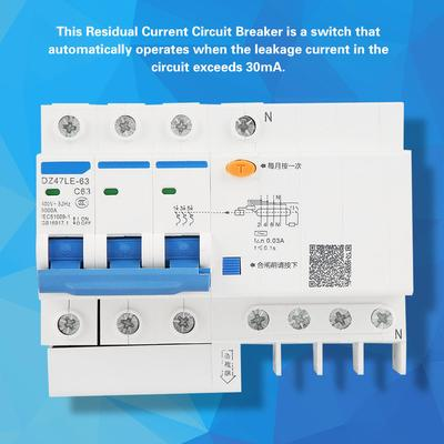 DZ47LE-63 1P+N C63 AC 230V 63A Residual Current Circuit Breaker 30mA RCCB GS