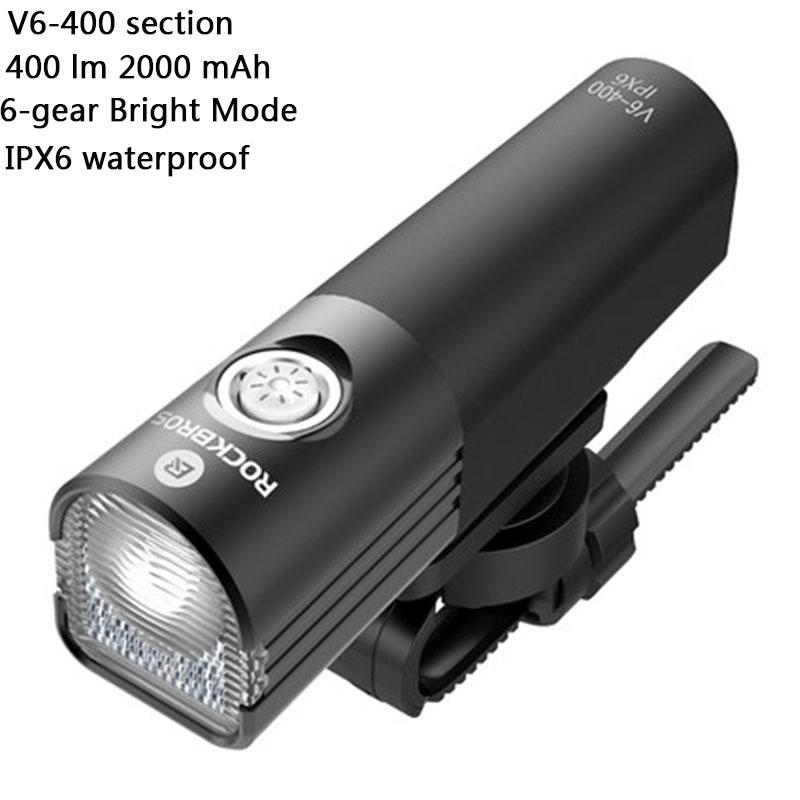 New ROCKBROS Bike Light 400Lumens Black Head Front Light USB Rechargeable LED