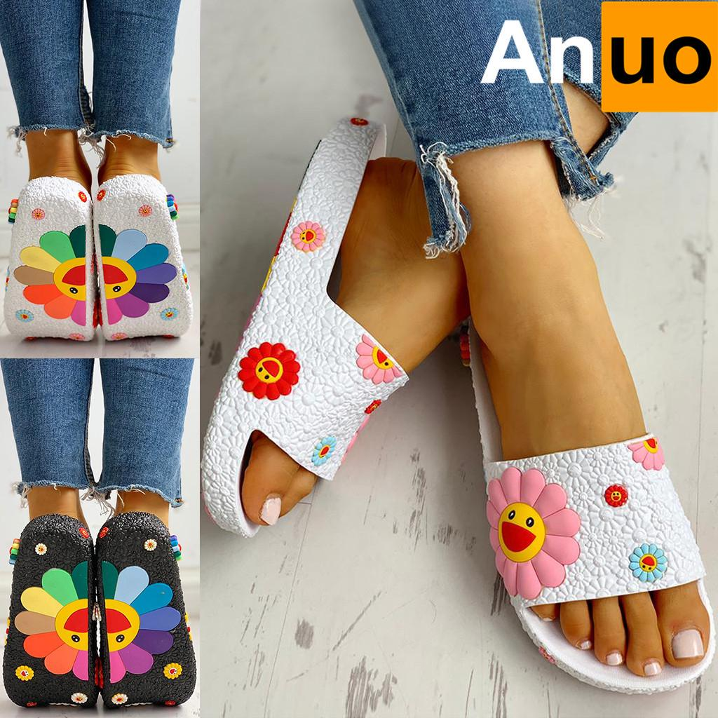 Women/'s Lady Fashion Colorful Sunflower Pattern Home Shoes Beach Slippers Slides