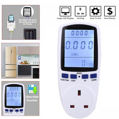 UK Plug-in Electricity Power Consumption Meter Energy Monitor Watt Kwh Analyzer