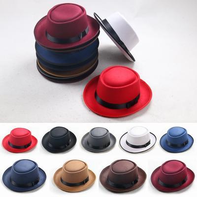 Unisex Classic Cap Upturn Short Porkpie Hat Felt Pork Pie Brim Bowler Black 86535f19babc