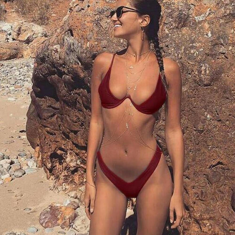 欧美女士性感 分体纯色比基尼 个性钢圈泳装