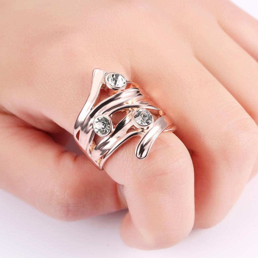 Fashion Rhinestone Decor Alloy Zircon Multi-Layer Branches Ring ...