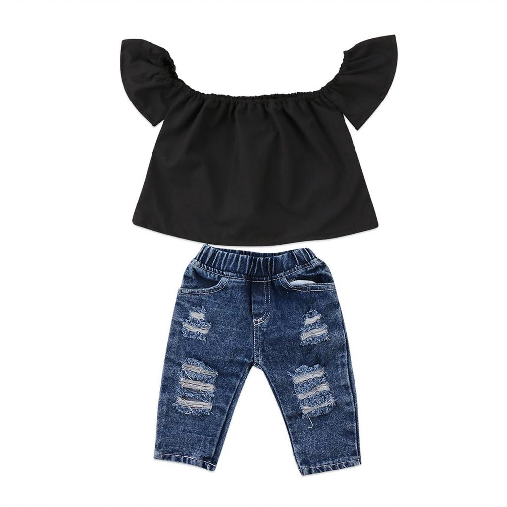 Toddlers Kids Baby Girl Outfits Flare Sleeve Shirt Off Shoulder Tops Striped Shorts Leopard Pant Fall Clothes Set