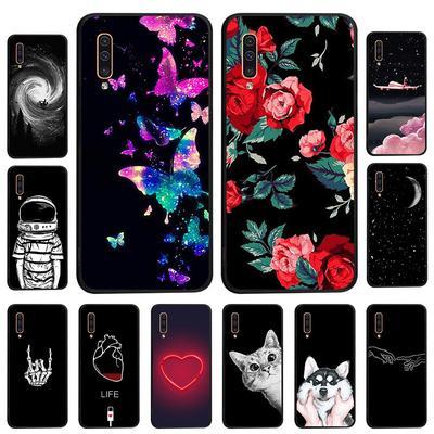 Case For Samsung Galaxy A50 A70 A30 A20 A10 Samsung J2 Prime J4 J6 Plus A3 A5 A7 A8 Cover Black Painted Phone Bag