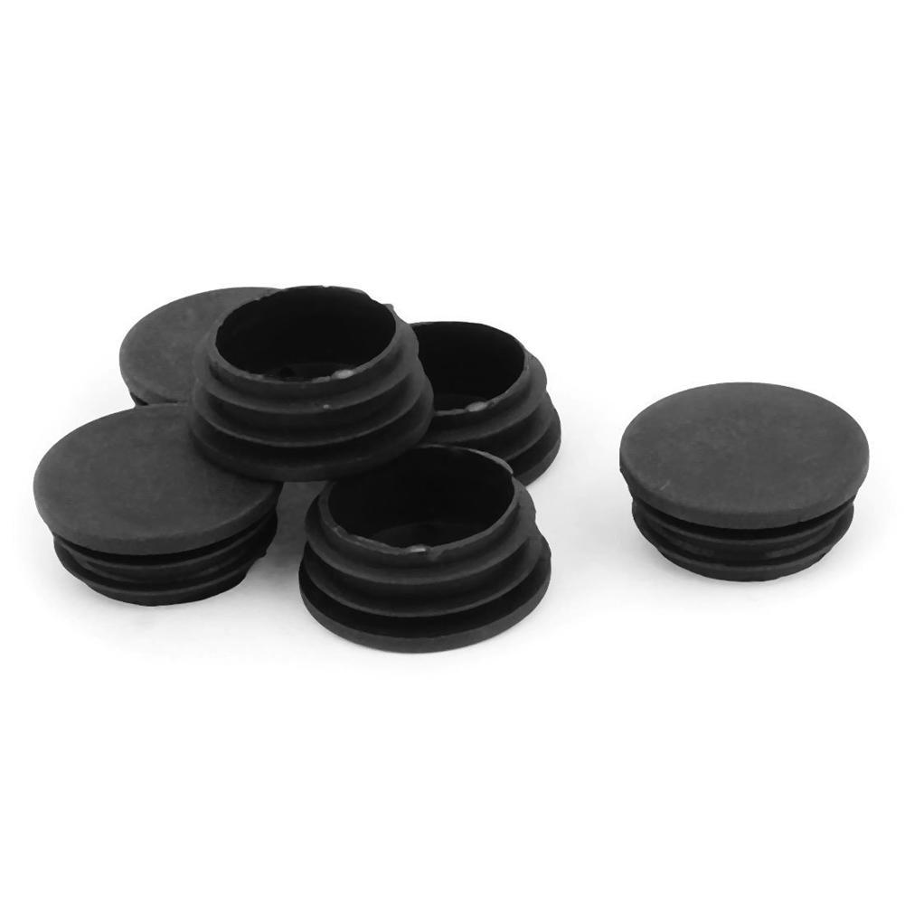 uxcell/® 15mm x 30mm Plastic Oval Shaped End Cup Tube Insert Black 24 Pcs
