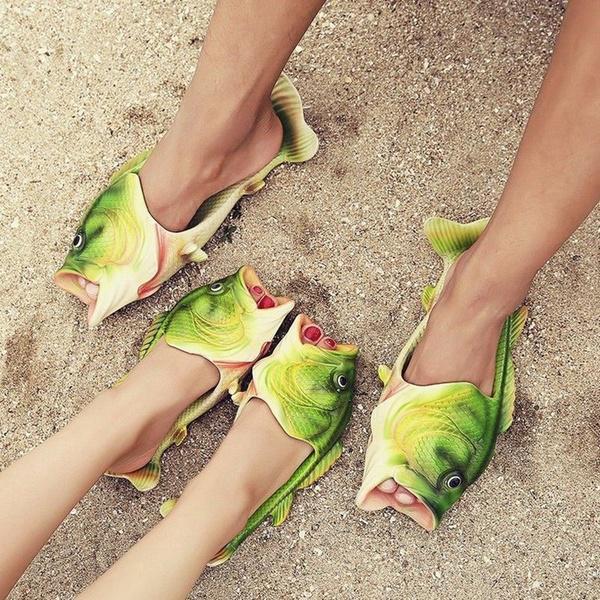 Women Men Boy Girl Fish Shower Slippers Beach Shoes Sandals Bling Flip Flops