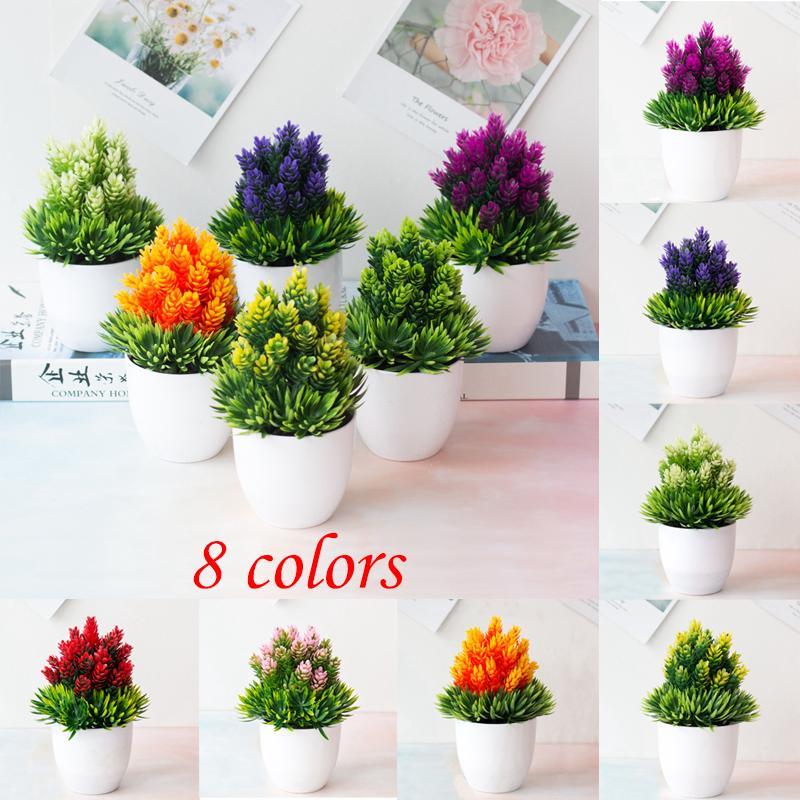 1x Mini Artificial Flowers Small Bonsai Decor Desk Office Home Fake Flower Plant