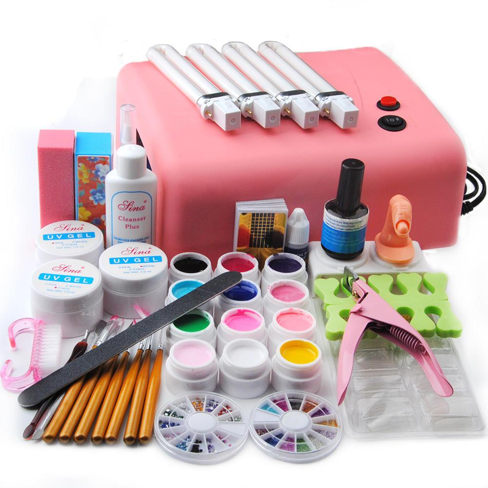 36w Lamp Dryer for Nails UV Gel Polish Nail Kit False Tip Manicure ...