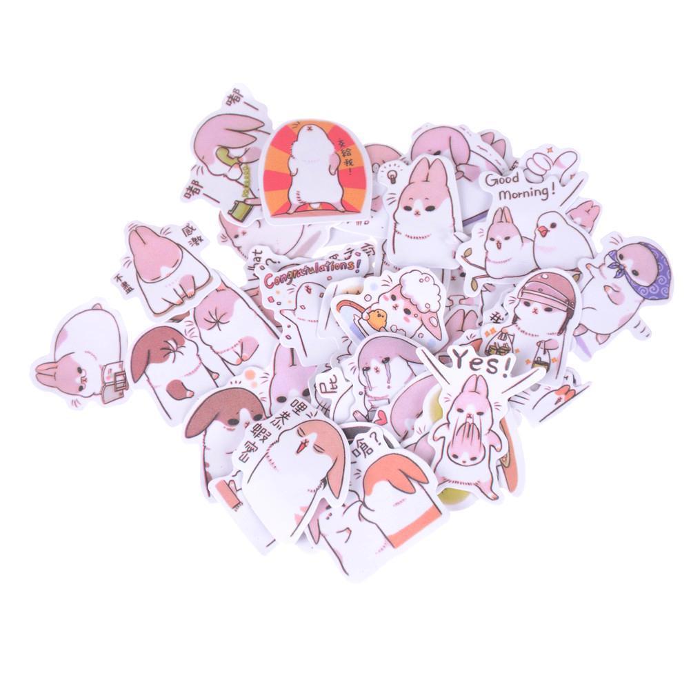 40pcs Kawaii Chubby Rabbit Pet Sticker Notebook Diary Decor Toy SchoolSupplieBSC