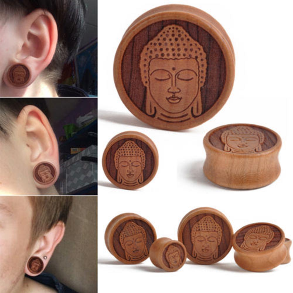 1 x Oblong Wood Tunnel Ear Flesh Plug Wooden Organic For Stretched Lobe Piercing