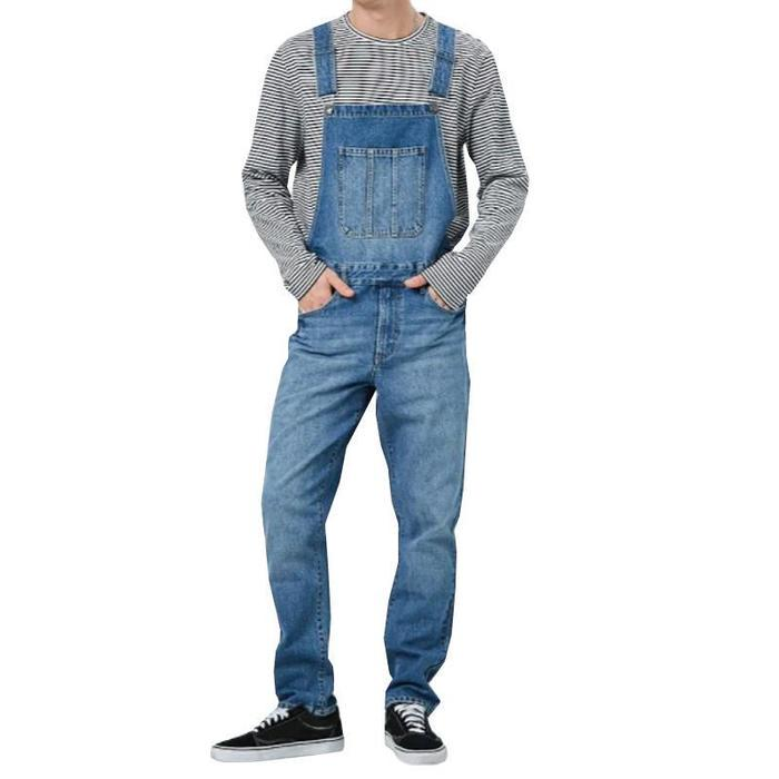 iHAZA Mens Overalls Bib Jumpsuit Jeans Denim Dungarees Trousers Suspender Long Pants with Pockets
