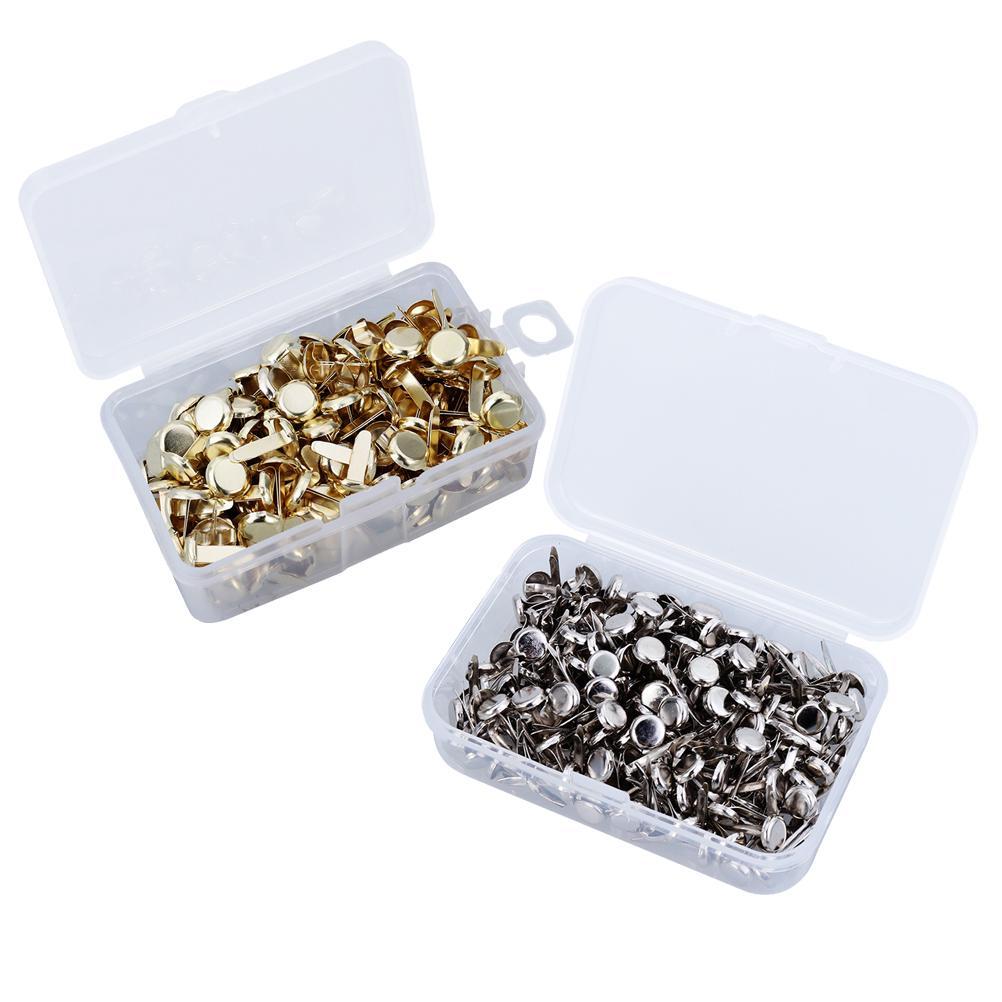 200pcs Paper Fasteners Brass Fasteners Scrapbooking Brads Metal Brads with Storage Box for Crafts Making DIY (Golden