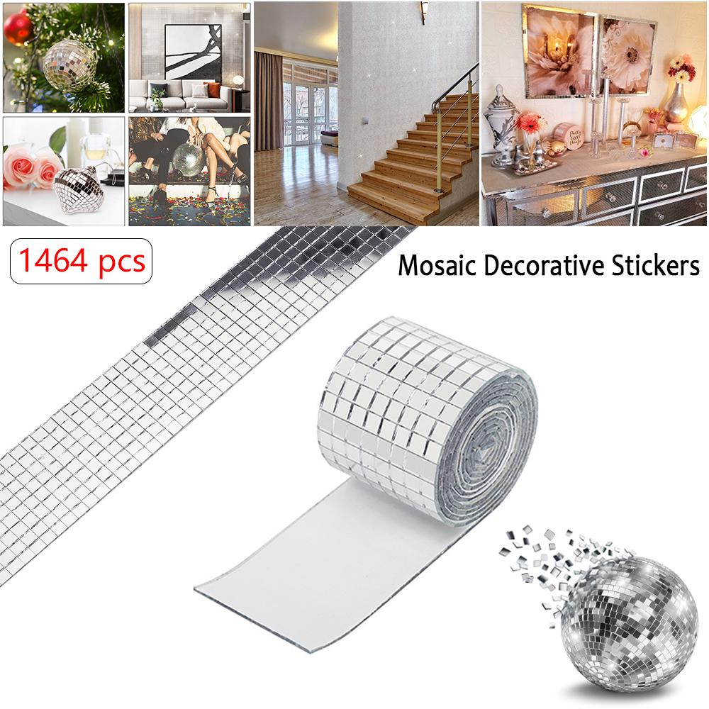 DIY Self Adhesive Mirror Mosaic Tiles 1464 pieces Square of Tiles Glass T2I6