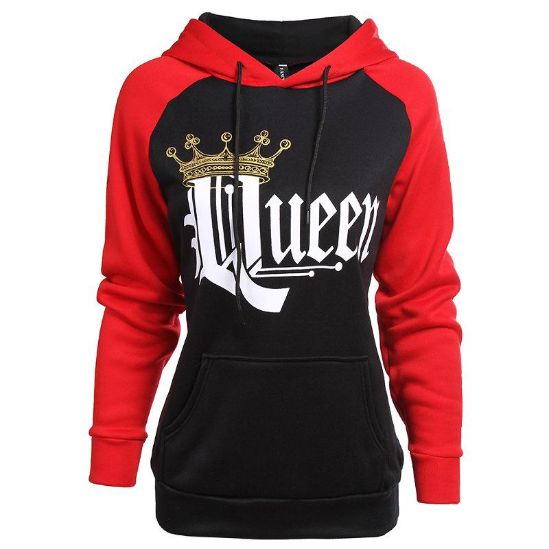 King Queen Hoodie Sweatshirts Couple Crown Lover Matching Jumper Sweater Tops US
