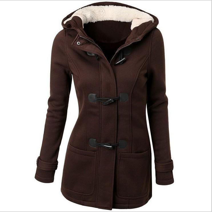 Rambling Women Hooded Sweater Coat Winter Warm Wool Zipper Coat Cotton Coat Outwear
