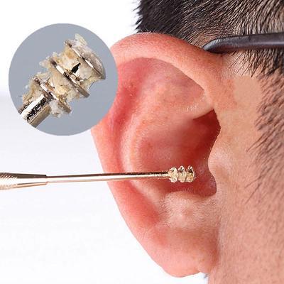 Escoger 1 EarPick oído cera limpiadores herramienta limpiador EarPick terminado doble acero inoxidable espiral la oreja