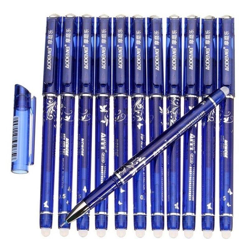 Gel Pens 0.5mm Magic Erasable Tip Blue Refill Student Stationery Writing 12 Pcs