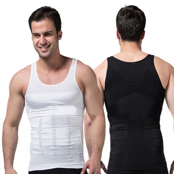 Men Sports Fitness Round Neck Solid Color Abdomen Belt Body Shaping Short-Sleeved Corset Shaper Vest