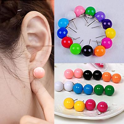 Gift Fashion Crystal Bead Round Circle Stud Earrings Double Side Ear Stud