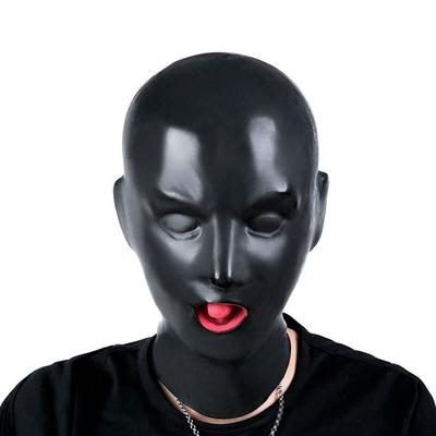 Black Faux Leather Body Harness Hood Roleplay Breathable Open Eyes And Nose Mask