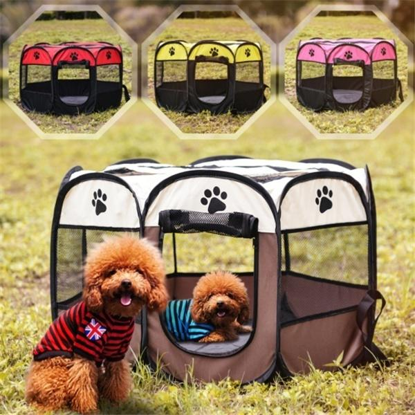 Portable Folding Pet Tent Dog House Cage Dog Cat Tent Playpen Puppy Kennel  Easy Operation Octagonal Fence Outdoor Supplies -buy at a low prices on  Joom e-commerce platform