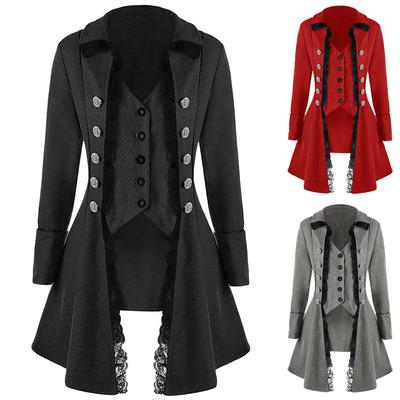 Womens Tailcoat Jacket,Ladies Steampunk Vintage Coat Costume Long Sleeve Solid Pockets Buttons Uniform Overcoat