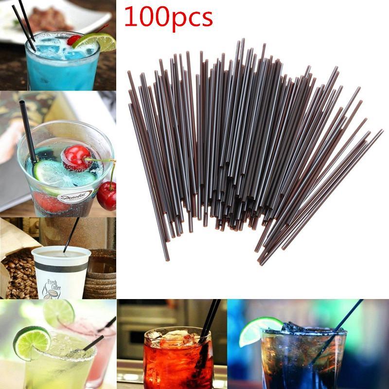100Pcs Plastic Straw Bendy Birthday Wedding Party Cocktail Drink Black Straws