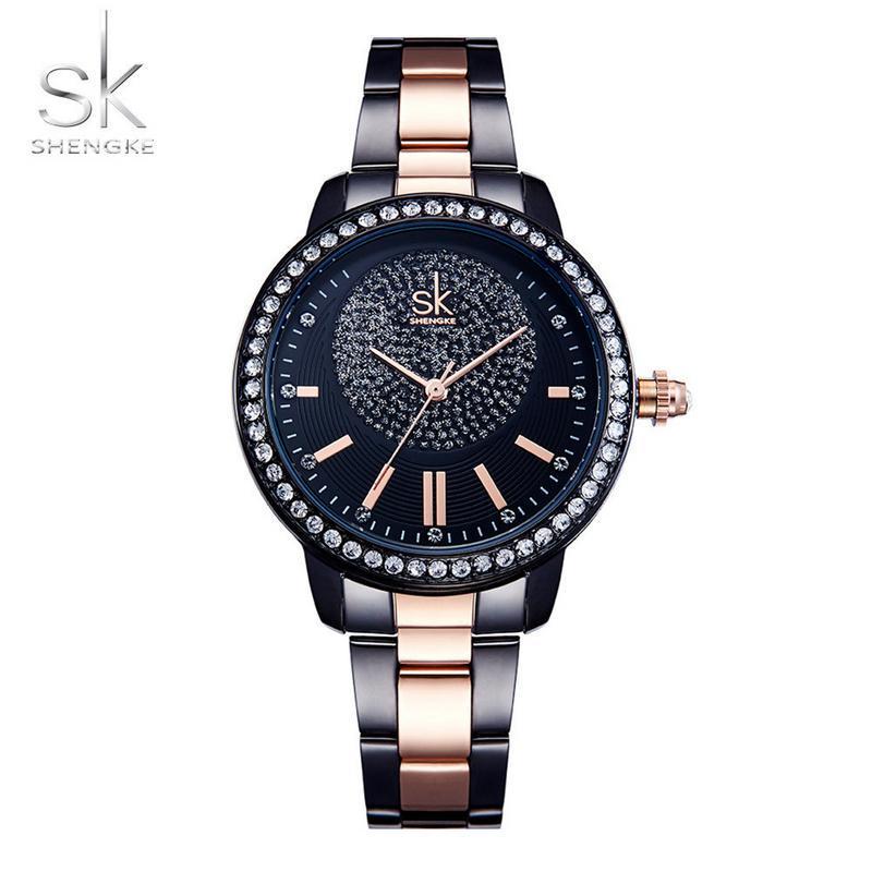4ae74be4d05 SK K0075L Rose ouro relógio quartzo cristal luxo relógios para as ...