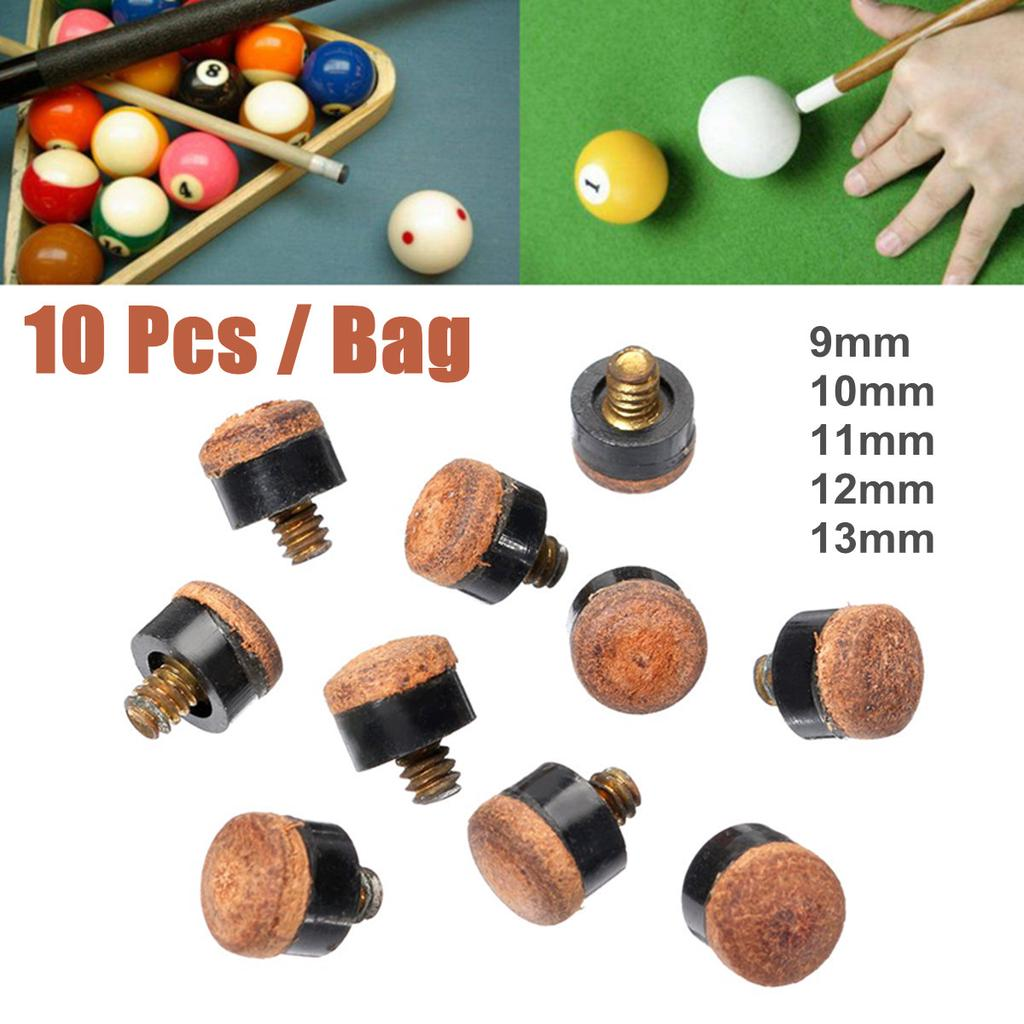10X Screw On Cue Tips For Billiard Pool Cue Stick Snooker Replacement 10~13mm BW