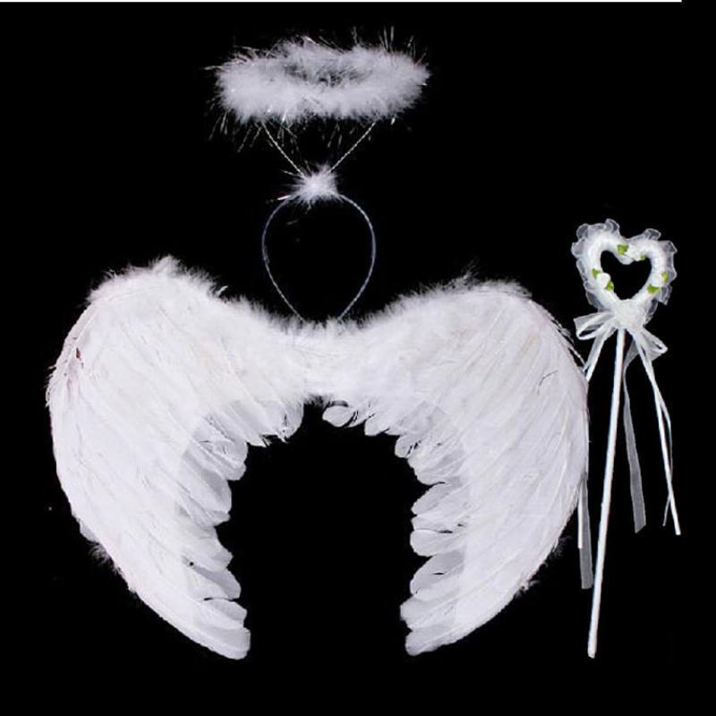 Adult Kids Feather Angel Fairy Wings Halloween Fancy Dress Costume Night Party