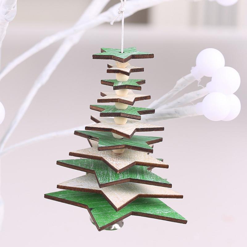 Gift Xmas Ornament Snowman Snowflake Elk Christmas Tree Pendant Wood Hanging