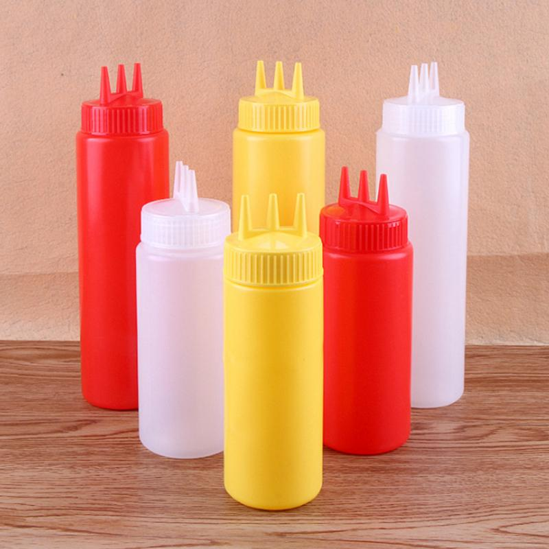12oz Red Yellow Clear Squeeze Condiment Bottle Restaurant Dispenser Picnic Sauce
