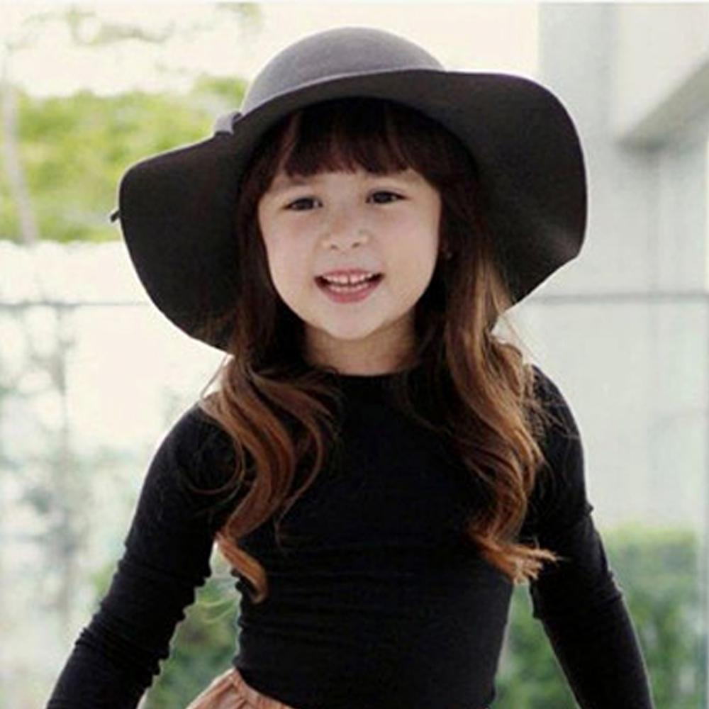 2-8 Year Girls Bowknot Hat Bowler Summer Beach Sun Protect Caps Accessories