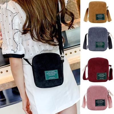 4b66f2565c3a Fashion Women Pure Color Corduroy Crossbody Bag Phone Bag Shoulder ...