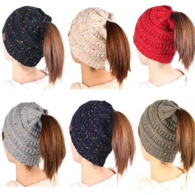 aa267a87ef8 Women s Bun Beanie Messy cc Woman Outdoor Casual Ponytail Cap Winter  Knitted Warm Holey Hats Mix