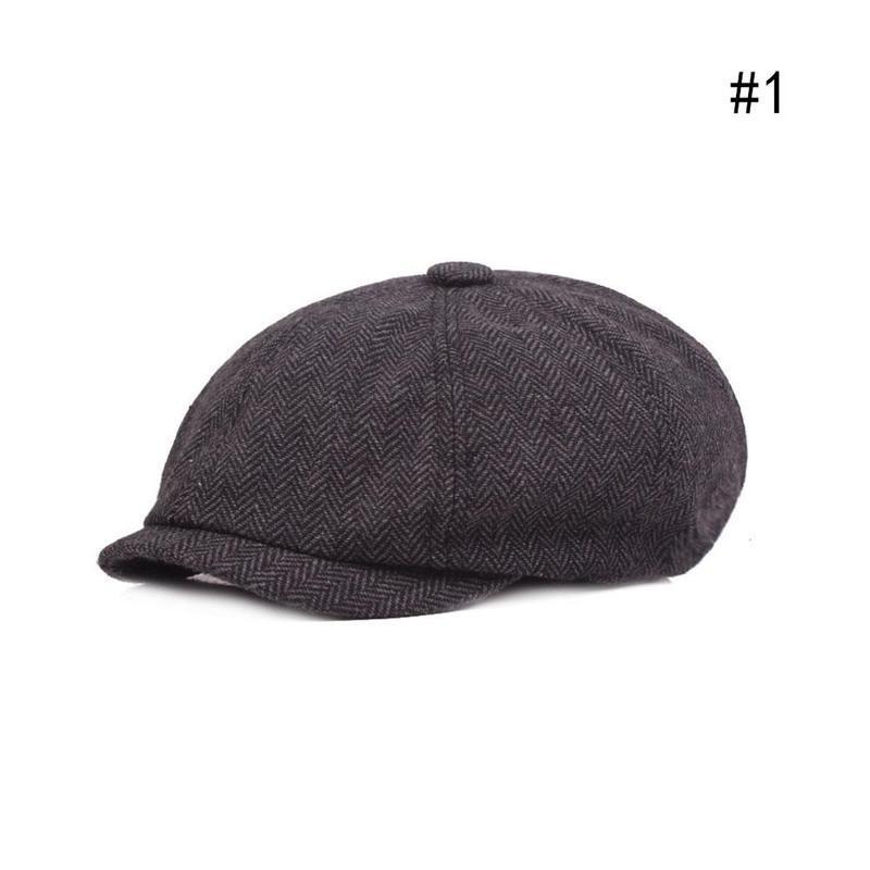 Mens Peaky Blinder Style Cap Newsboy Bakerboy Gatsby Dark Grey Hat