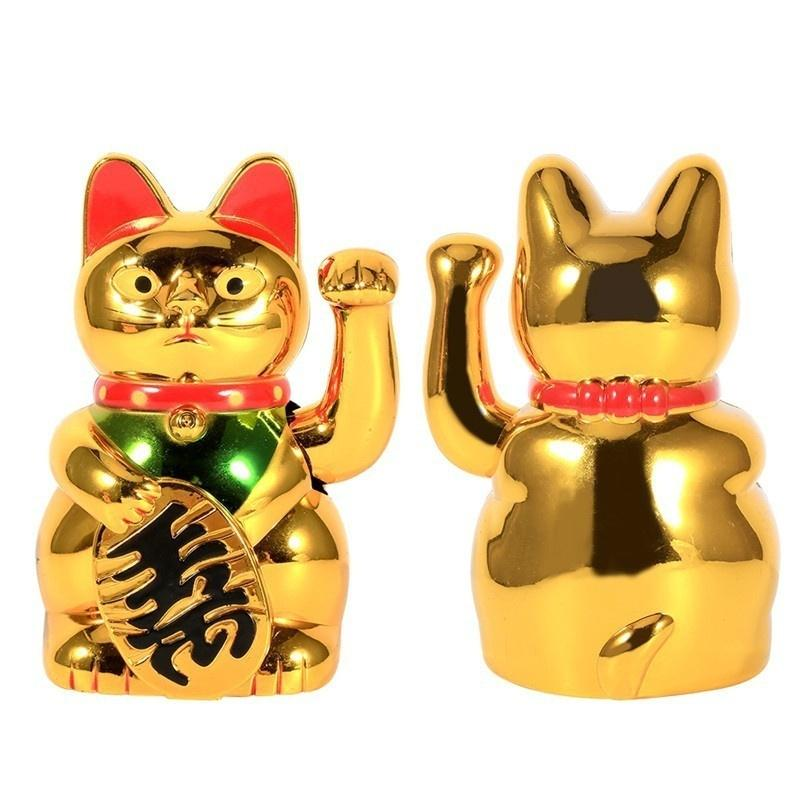 Fashion Chinese Lucky Wealth Electric Waving Cat Beckoning Silver Lucky Cat