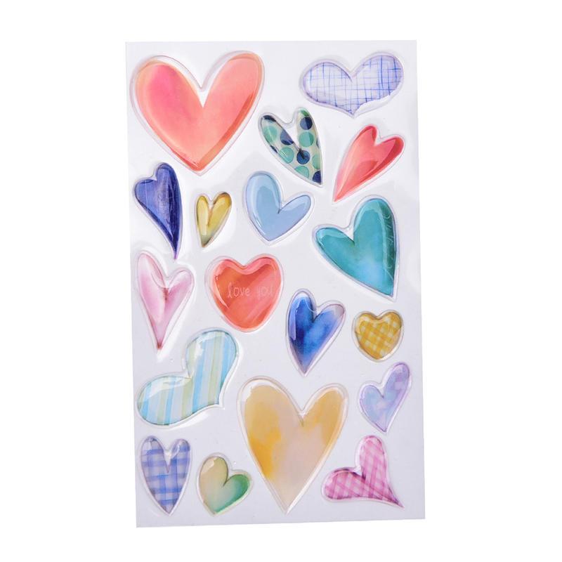 3D Heart Style PVC Sticker DIY Label Mobile Atickers Scrapbooking SchoolOfficevn