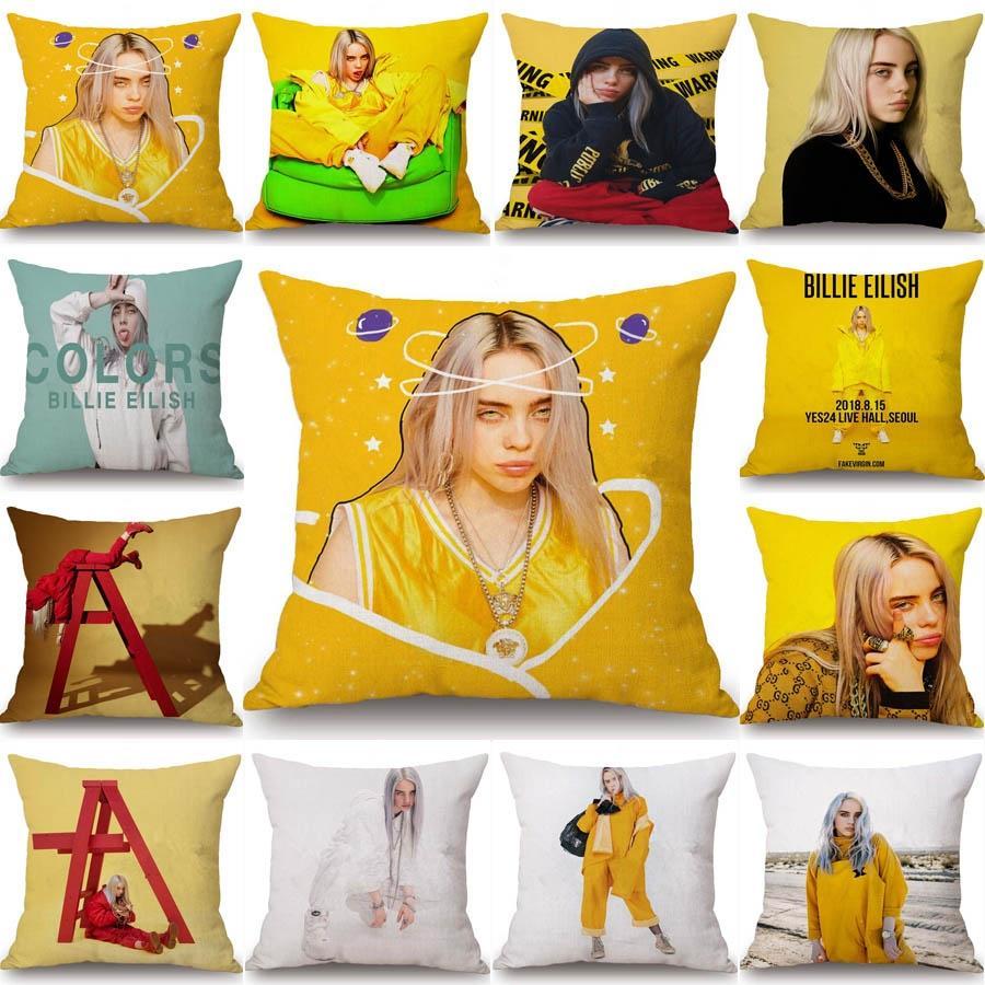 Billie Eilish Pillowcase Home Decor Peach Skin Pillowcover Sofa Cushion Cover