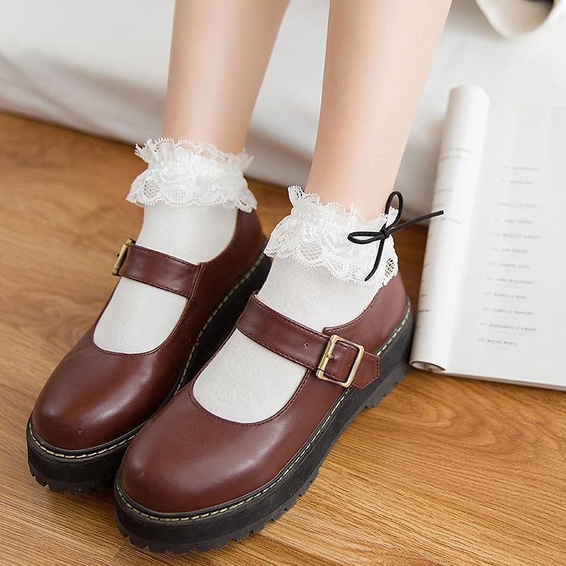 Fashion Sweet Short Ankle Big Bow Cotton Princess Socks Lace Frilly Ruffle