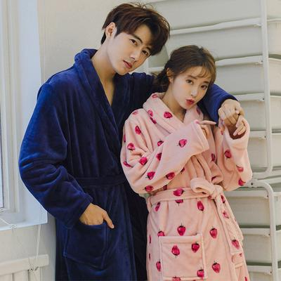 dbd1e63d89 New Autumn and Winter Flannel Robe Men and Women Couple Bathrobes Long Thick  Pajamas