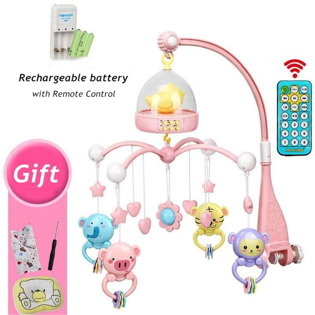 Infant Baby Musical Crib Toy Cot Bed Remote Mobile Bed Bell Toy Playset  Gift