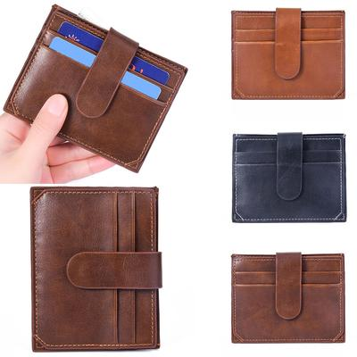 4f11805f4d07 Men s Women s Leather Small ID Credit Card Wallet Holder Slim Pocket ...