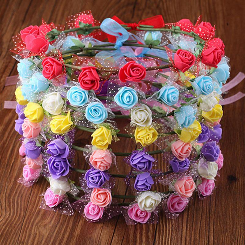 2017 Sweet Women Rose Flower Crown Headband Wreath Party Wedding Headwear beSJCA